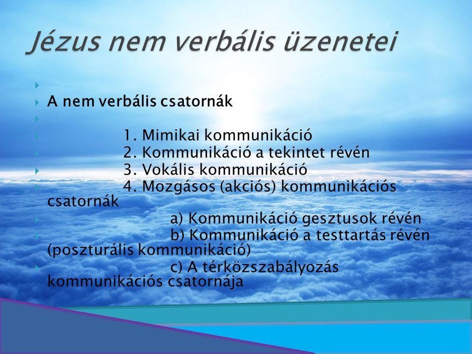   A nem verbális csatornák   1. Mimikai kommunikáció  2. Kommunikáció a tekintet révén  3. Vokális kommunikáció  4. Mozgásos (akciós) kommuniká