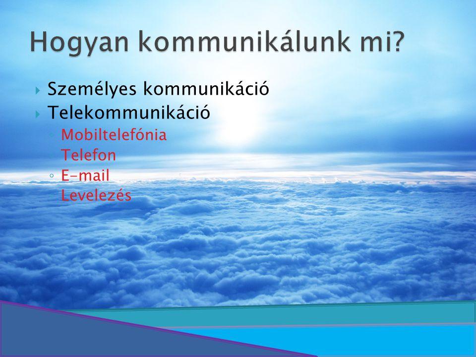  Személyes kommunikáció  Telekommunikáció ◦ Mobiltelefónia ◦ Telefon ◦ E-mail ◦ Levelezés