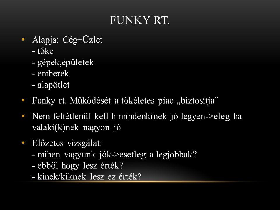 FUNKY RT.• Alapja: Cég+Üzlet - tőke - gépek,épületek - emberek - alapötlet • Funky rt.