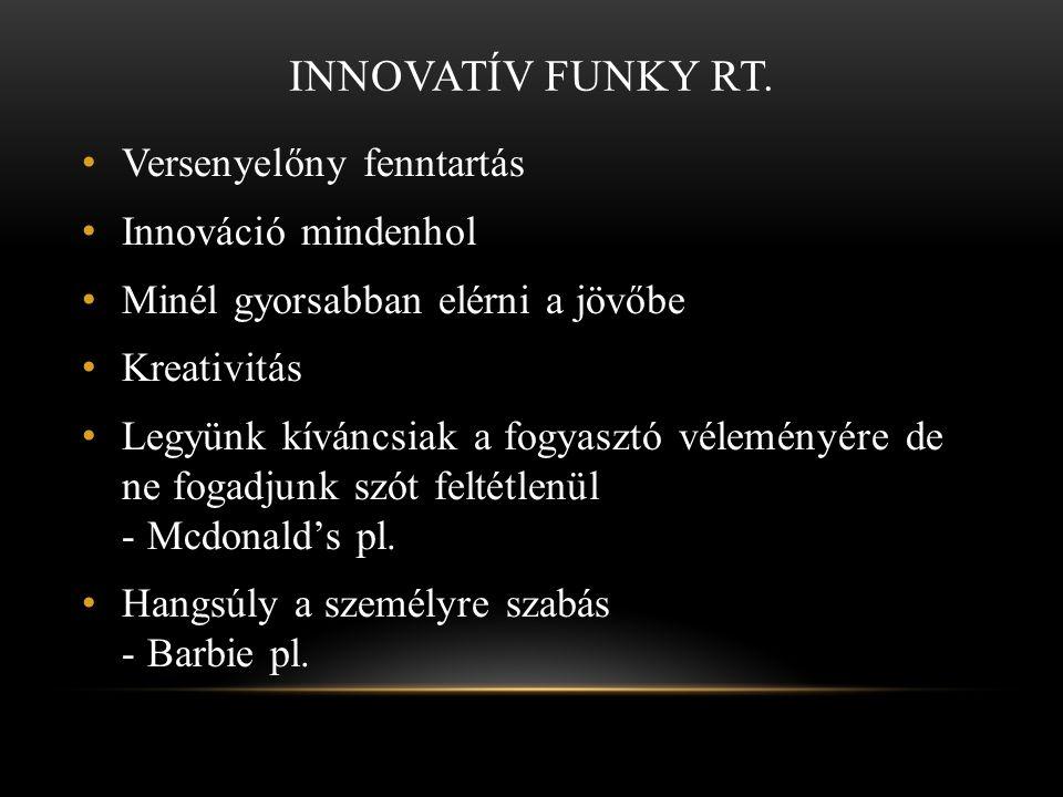 INNOVATÍV FUNKY RT. • Versenyelőny fenntartás • Innováció mindenhol • Minél gyorsabban elérni a jövőbe • Kreativitás • Legyünk kíváncsiak a fogyasztó