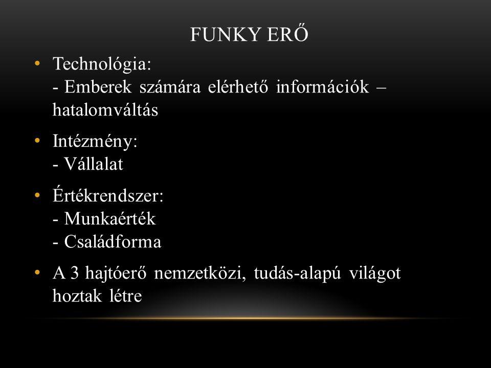 FUNKY ERŐ • Technológia: - Emberek számára elérhető információk – hatalomváltás • Intézmény: - Vállalat • Értékrendszer: - Munkaérték - Családforma •
