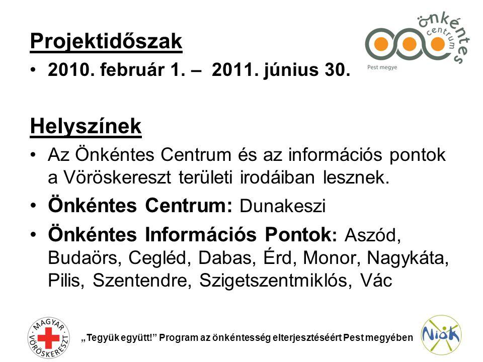 Projektidőszak •2010. február 1. – 2011. június 30.