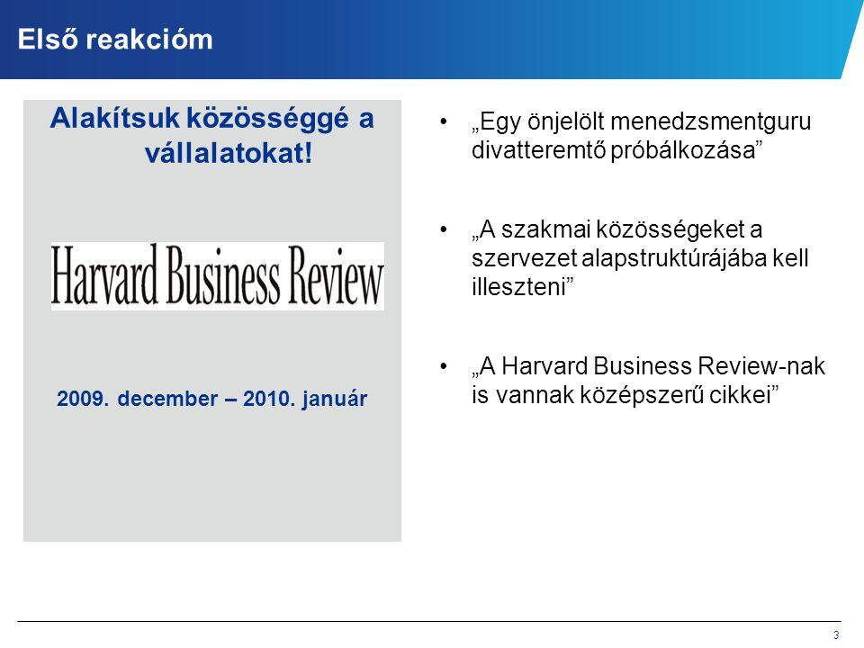 """3 Első reakcióm Alakítsuk közösséggé a vállalatokat! 2009. december – 2010. január •""""Egy önjelölt menedzsmentguru divatteremtő próbálkozása"""" •""""A szakm"""
