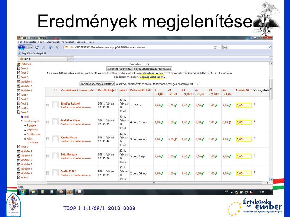 Eredmények megjelenítése TIOP 1.1.1/09/1-2010-0003