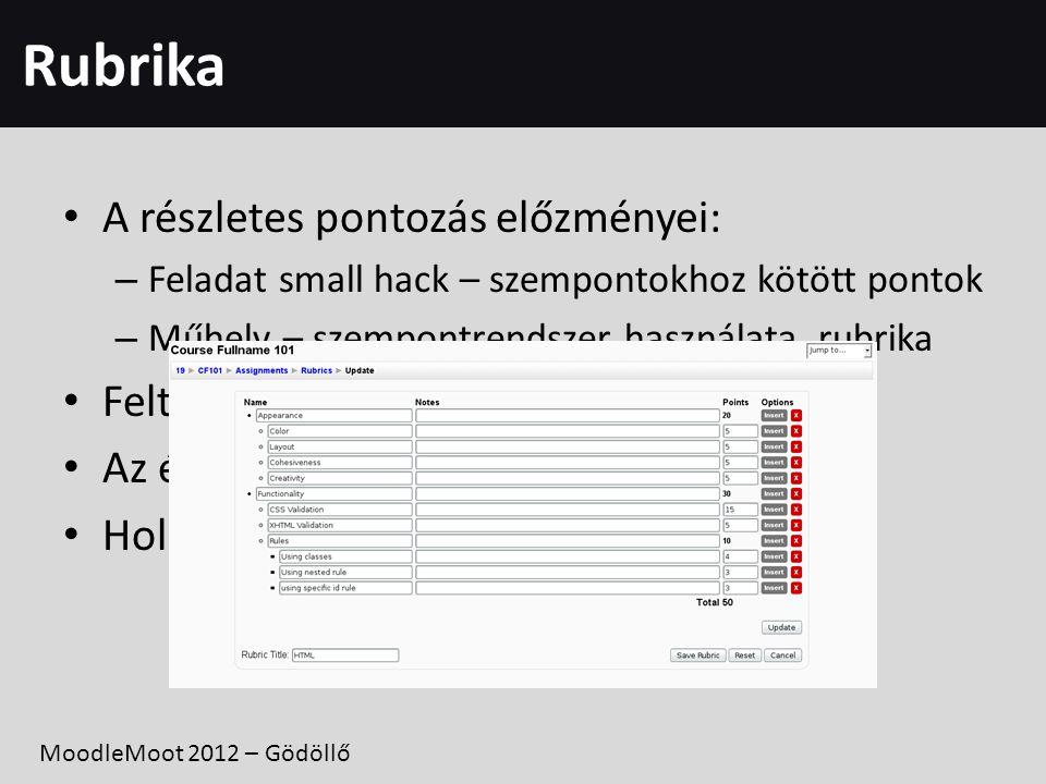 Rubrika • A részletes pontozás előzményei: – Feladat small hack – szempontokhoz kötött pontok – Műhely – szempontrendszer használata, rubrika • Feltét