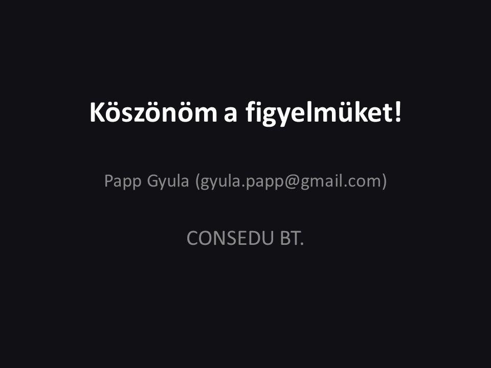 Köszönöm a figyelmüket! Papp Gyula (gyula.papp@gmail.com) CONSEDU BT.