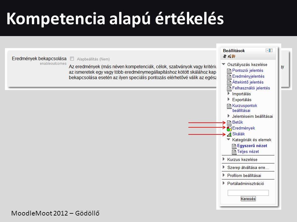 Kompetencia alapú értékelés MoodleMoot 2012 – Gödöllő