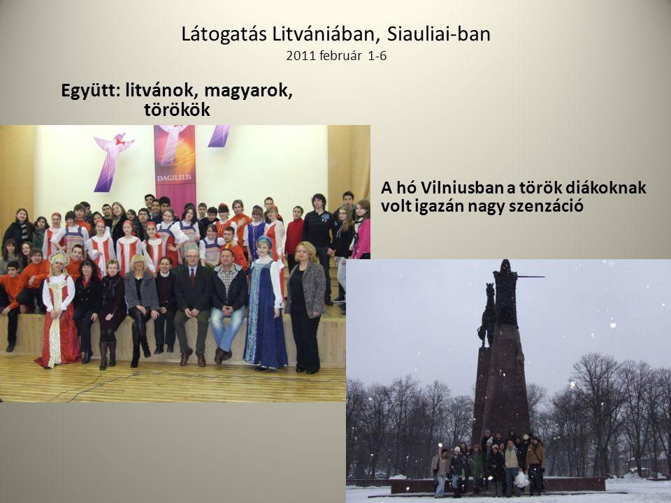 Látogatás Litvániában, Siauliai-ban 2011 február 1-6 Együtt: litvánok, magyarok, törökök A hó Vilniusban a török diákoknak volt igazán nagy szenzáció