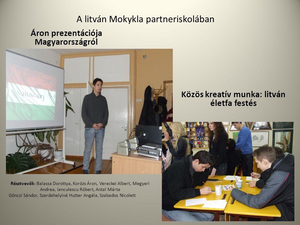 A litván Mokykla partneriskolában Áron prezentációja Magyarországról Közös kreatív munka: litván életfa festés Résztvevők: Balassa Dorottya, Korózs Ár