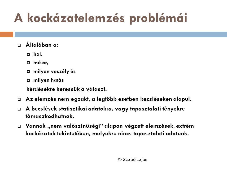 A kockázatelemzés problémái © Szabó Lajos  Általában a:  hol,  mikor,  milyen veszély és  milyen hatás kérdésekre keressük a választ.