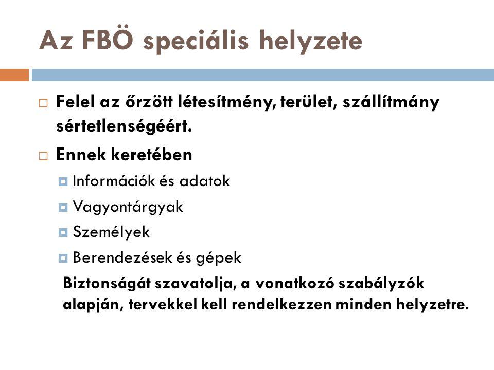Az FBÖ speciális helyzete  Felel az őrzött létesítmény, terület, szállítmány sértetlenségéért.