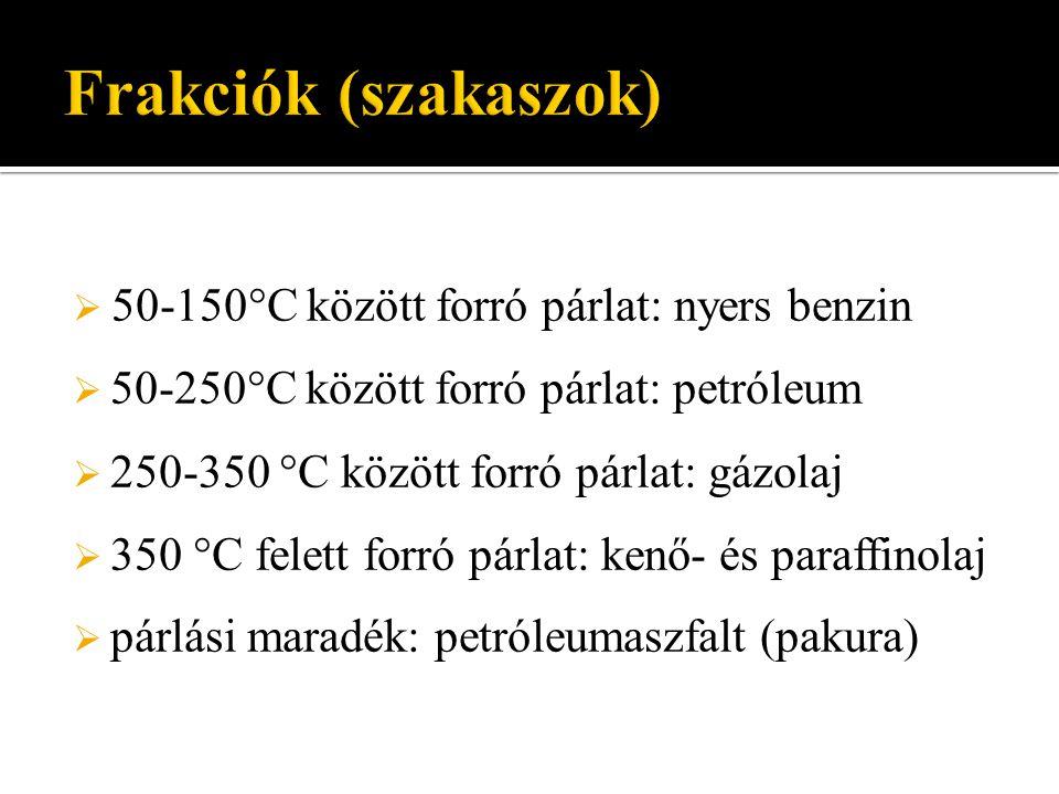 50-150°C között forró párlat: nyers benzin  50-250°C között forró párlat: petróleum  250-350 °C között forró párlat: gázolaj  350 °C felett forró
