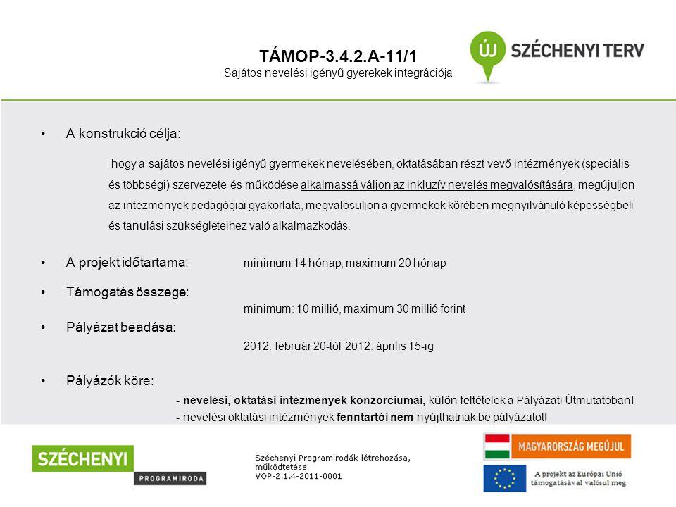 TÁMOP-3.4.2.A-11/1 Sajátos nevelési igényű gyerekek integrációja •A konstrukció célja: hogy a sajátos nevelési igényű gyermekek nevelésében, oktatásáb