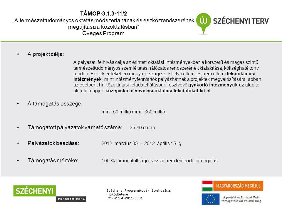 """TÁMOP-3.1.3-11/2 """"A természettudományos oktatás módszertanának és eszközrendszerének megújítása a közoktatásban"""" Öveges Program •A projekt célja: A pá"""