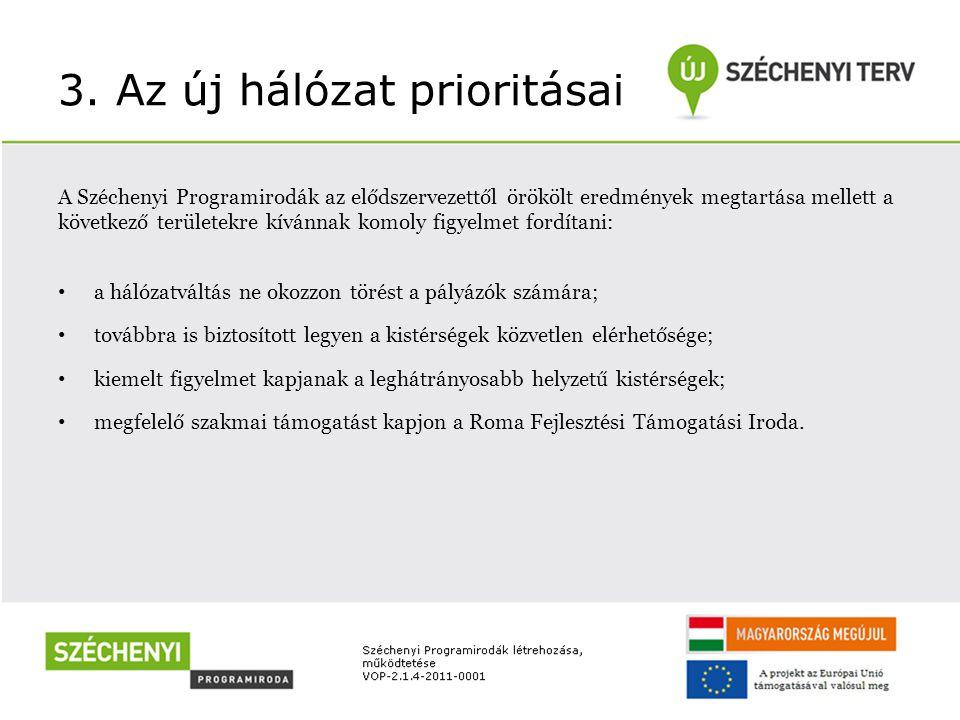 3. Az új hálózat prioritásai A Széchenyi Programirodák az elődszervezettől örökölt eredmények megtartása mellett a következő területekre kívánnak komo