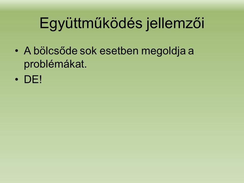 Együttműködés jellemzői •A bölcsőde sok esetben megoldja a problémákat. •DE!