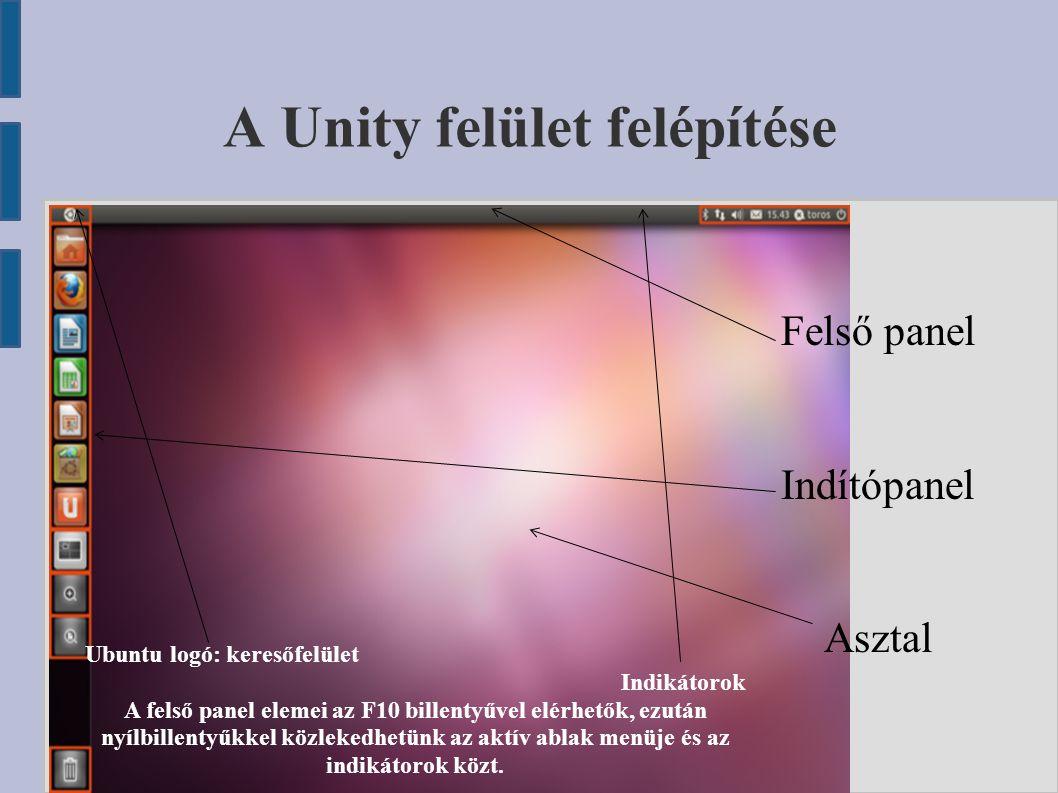 A Unity felület felépítése Felső panel Indítópanel Asztal Ubuntu logó: keresőfelület Indikátorok A felső panel elemei az F10 billentyűvel elérhetők, e
