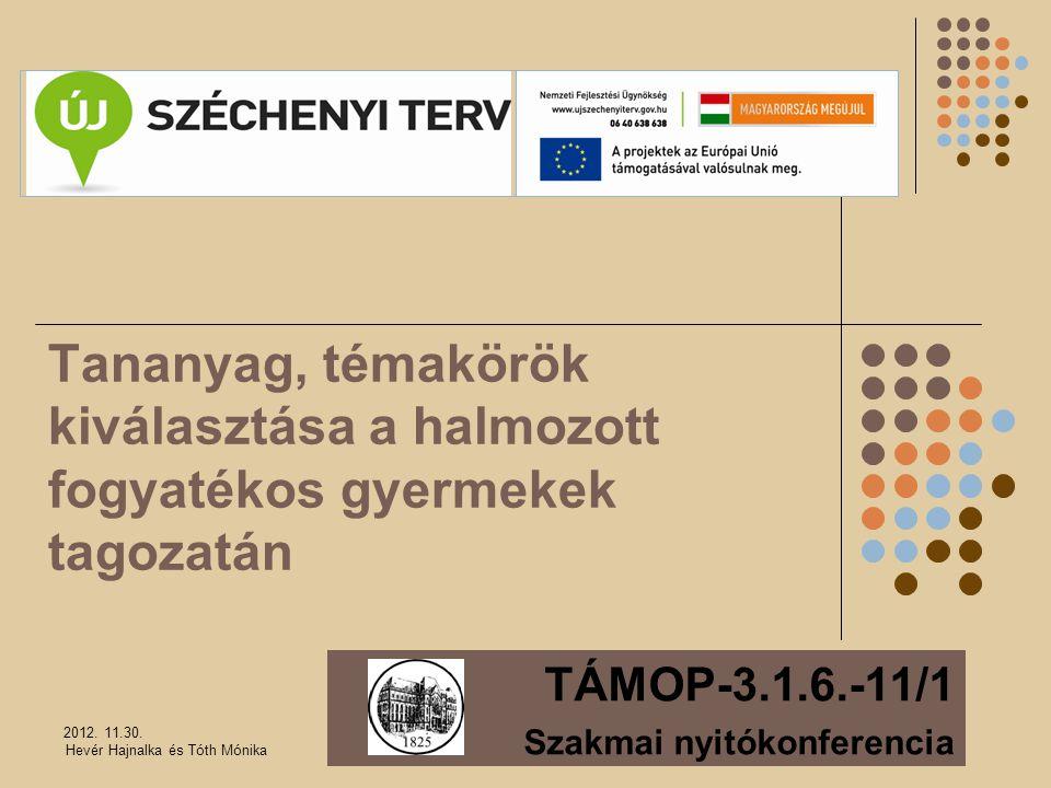Tananyag, témakörök kiválasztása a halmozott fogyatékos gyermekek tagozatán TÁMOP-3.1.6.-11/1 Szakmai nyitókonferencia 2012. 11.30. Hevér Hajnalka és