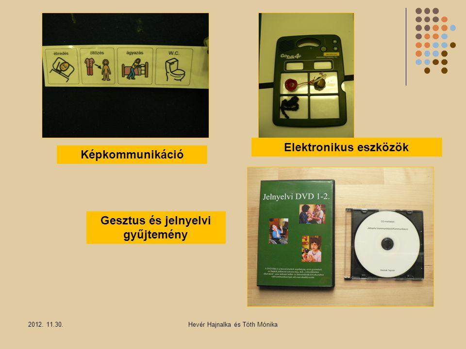 2012. 11.30.Hevér Hajnalka és Tóth Mónika Képkommunikáció Elektronikus eszközök Gesztus és jelnyelvi gyűjtemény