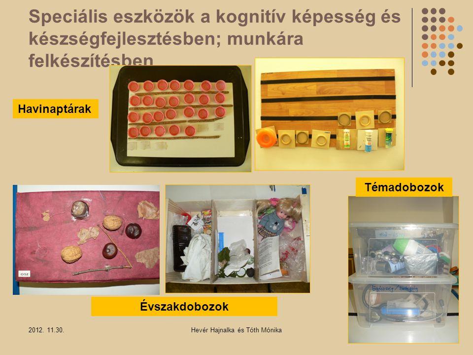 Speciális eszközök a kognitív képesség és készségfejlesztésben; munkára felkészítésben 2012. 11.30.Hevér Hajnalka és Tóth Mónika Havinaptárak Évszakdo