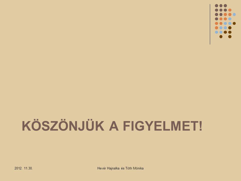 KÖSZÖNJÜK A FIGYELMET! 2012. 11.30.Hevér Hajnalka és Tóth Mónika