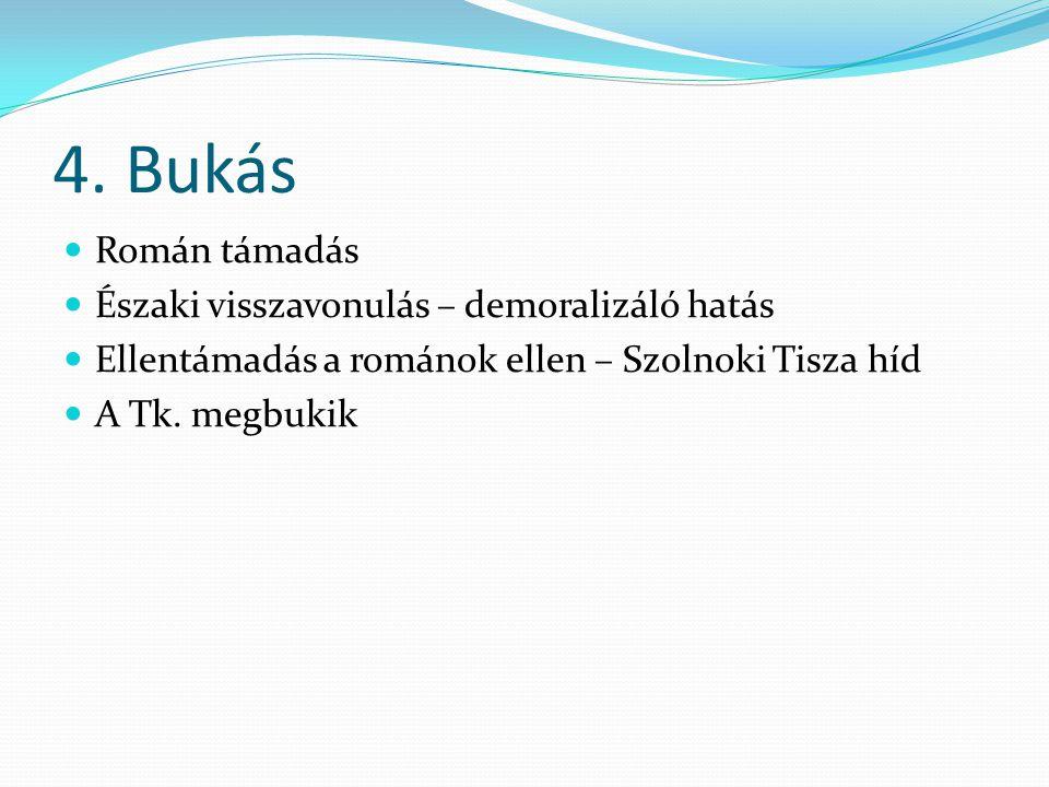 4. Bukás  Román támadás  Északi visszavonulás – demoralizáló hatás  Ellentámadás a románok ellen – Szolnoki Tisza híd  A Tk. megbukik