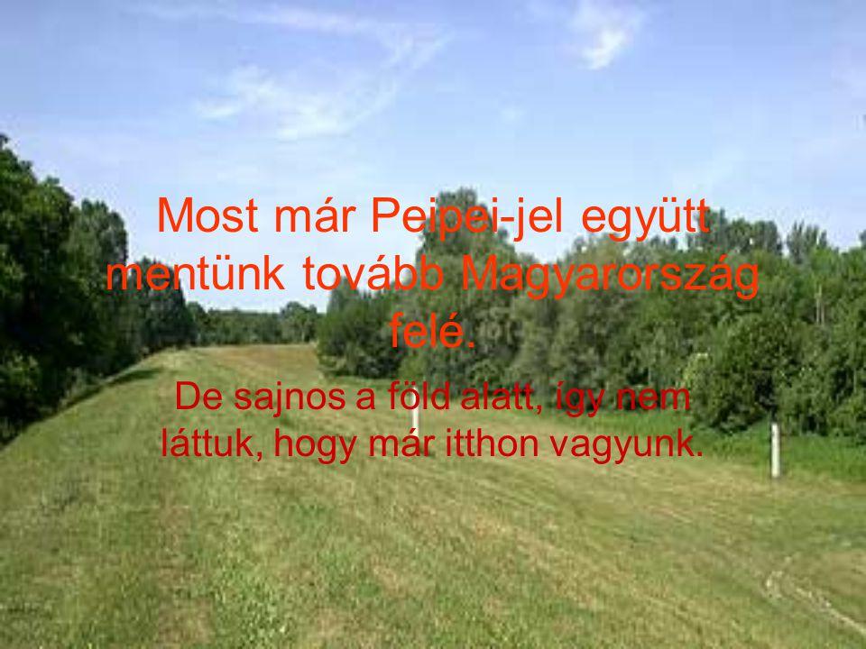 Most már Peipei-jel együtt mentünk tovább Magyarország felé. De sajnos a föld alatt, így nem láttuk, hogy már itthon vagyunk.