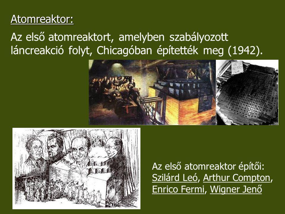 Atomreaktor: Az első atomreaktort, amelyben szabályozott láncreakció folyt, Chicagóban építették meg (1942). Az első atomreaktor építői: Szilárd Leó,