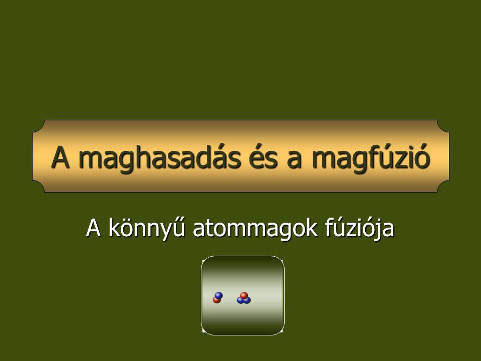 A könnyű atommagok fúziója A maghasadás és a magfúzió