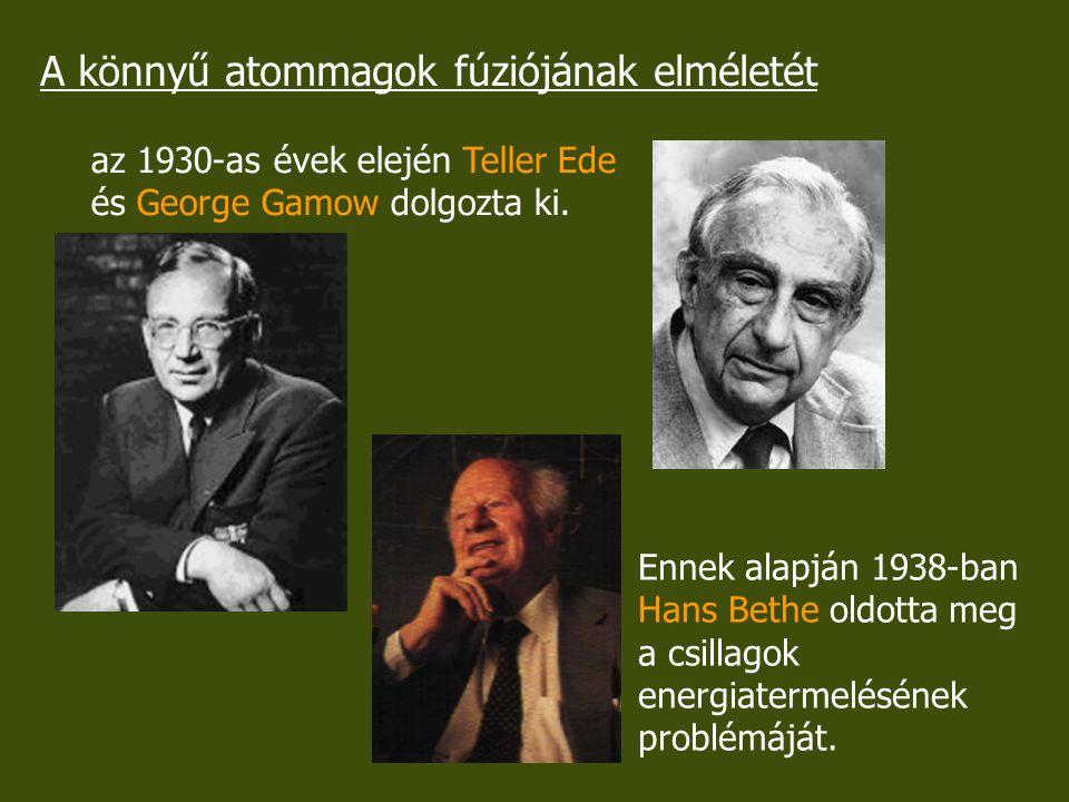 A könnyű atommagok fúziójának elméletét az 1930-as évek elején Teller Ede és George Gamow dolgozta ki. Ennek alapján 1938-ban Hans Bethe oldotta meg a