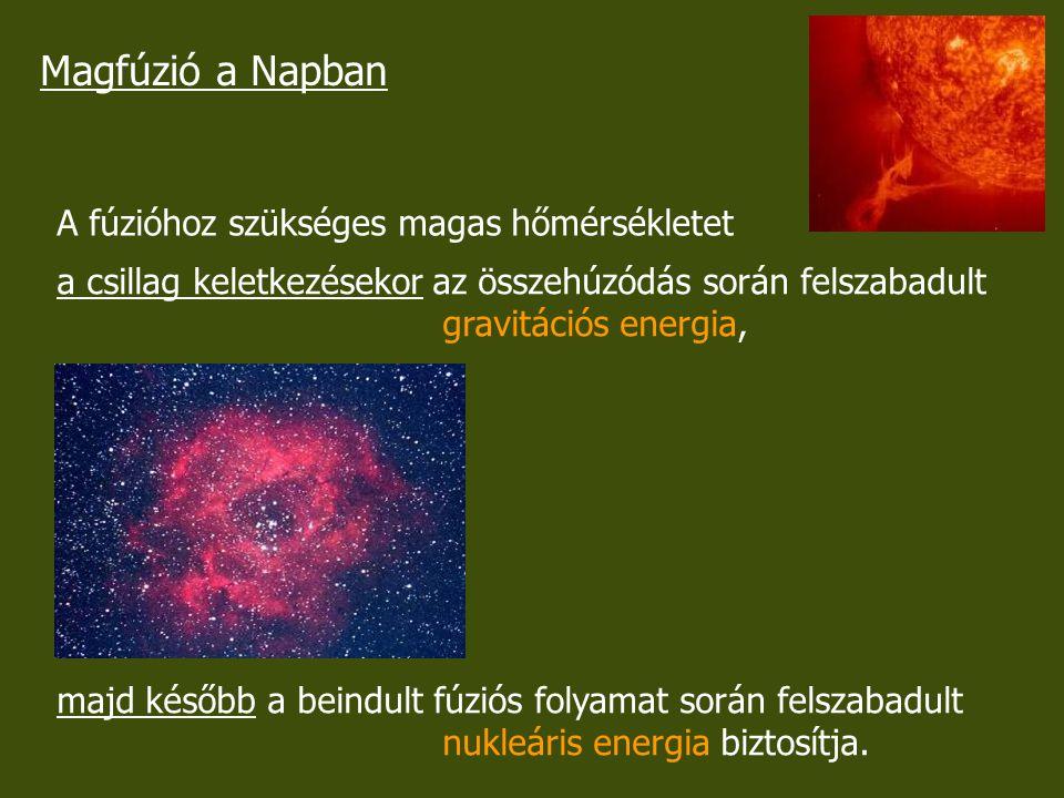 Magfúzió a Napban A fúzióhoz szükséges magas hőmérsékletet a csillag keletkezésekor az összehúzódás során felszabadult gravitációs energia, majd későb