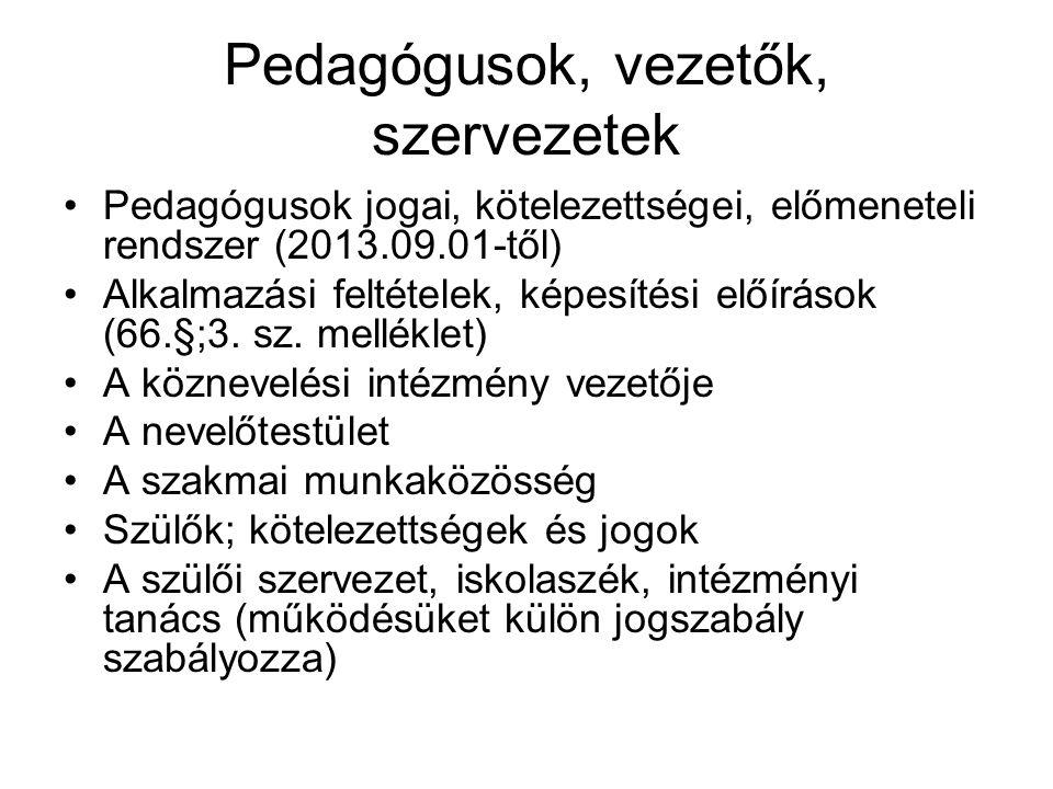 Pedagógusok, vezetők, szervezetek •Pedagógusok jogai, kötelezettségei, előmeneteli rendszer (2013.09.01-től) •Alkalmazási feltételek, képesítési előír