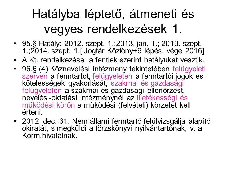 Hatályba léptető, átmeneti és vegyes rendelkezések 1. •95.§ Hatály: 2012. szept. 1.;2013. jan. 1.; 2013. szept. 1.;2014. szept. 1.[ Jogtár Közlöny+9 l