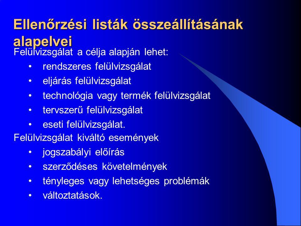 Ellenőrzési listák összeállításának alapelvei Felülvizsgálat a célja alapján lehet: •rendszeres felülvizsgálat •eljárás felülvizsgálat •technológia va