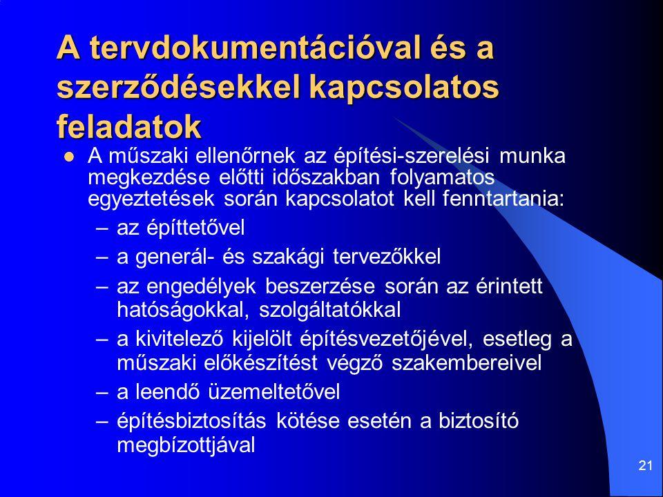 21 A tervdokumentációval és a szerződésekkel kapcsolatos feladatok  A műszaki ellenőrnek az építési-szerelési munka megkezdése előtti időszakban foly
