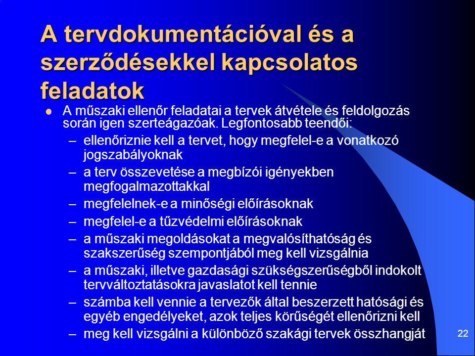22 A tervdokumentációval és a szerződésekkel kapcsolatos feladatok  A műszaki ellenőr feladatai a tervek átvétele és feldolgozás során igen szerteága