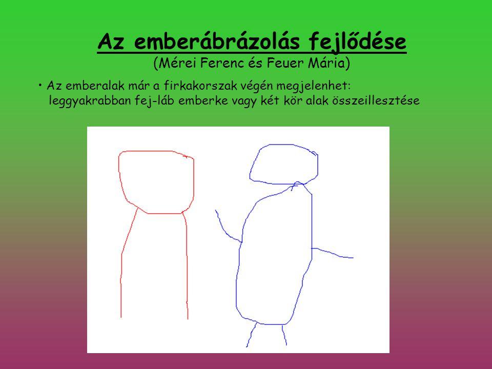 Az emberábrázolás fejlődése (Mérei Ferenc és Feuer Mária) • Az emberalak már a firkakorszak végén megjelenhet: leggyakrabban fej-láb emberke vagy két