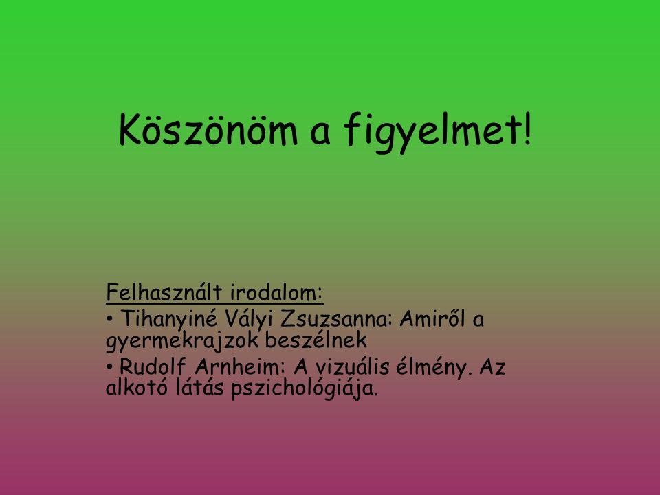 Köszönöm a figyelmet! Felhasznált irodalom: • Tihanyiné Vályi Zsuzsanna: Amiről a gyermekrajzok beszélnek • Rudolf Arnheim: A vizuális élmény. Az alko