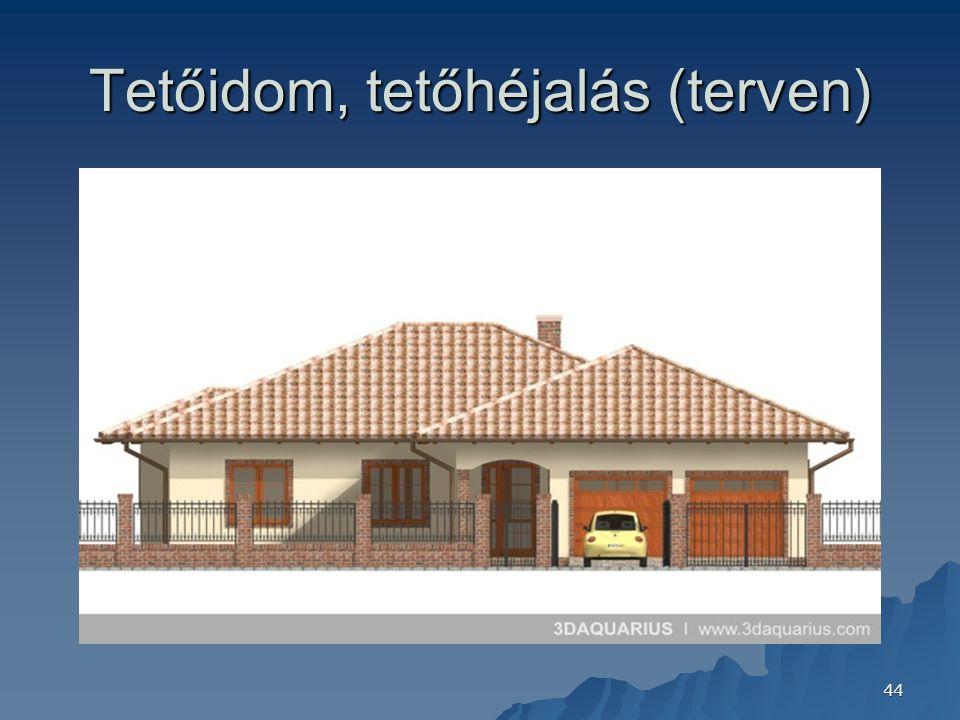 44 Tetőidom, tetőhéjalás (terven)