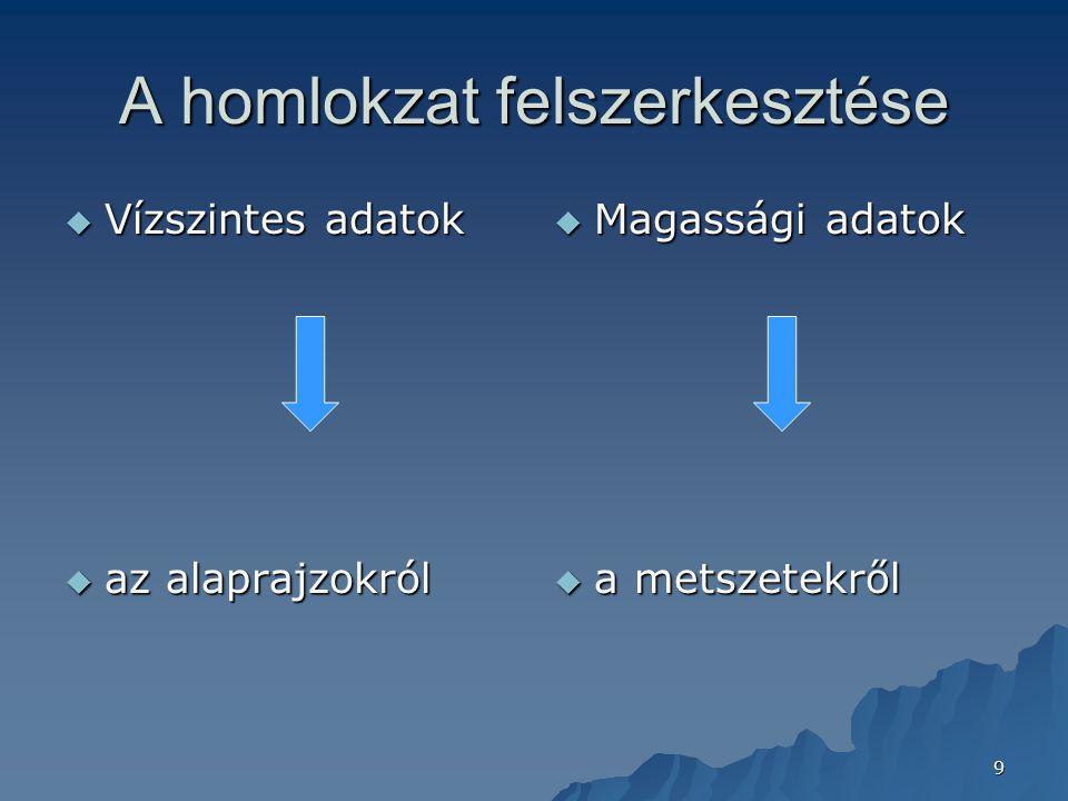 9 A homlokzat felszerkesztése  Vízszintes adatok  az alaprajzokról  Magassági adatok  a metszetekről