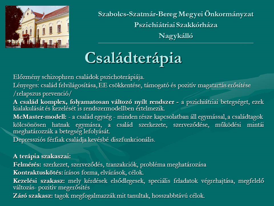 Családterápia Előzmény schizophren családok pszichoterápiája. Lényeges: család felvilágosítása, EE csökkentése, támogató és pozitív magatartás erősíté