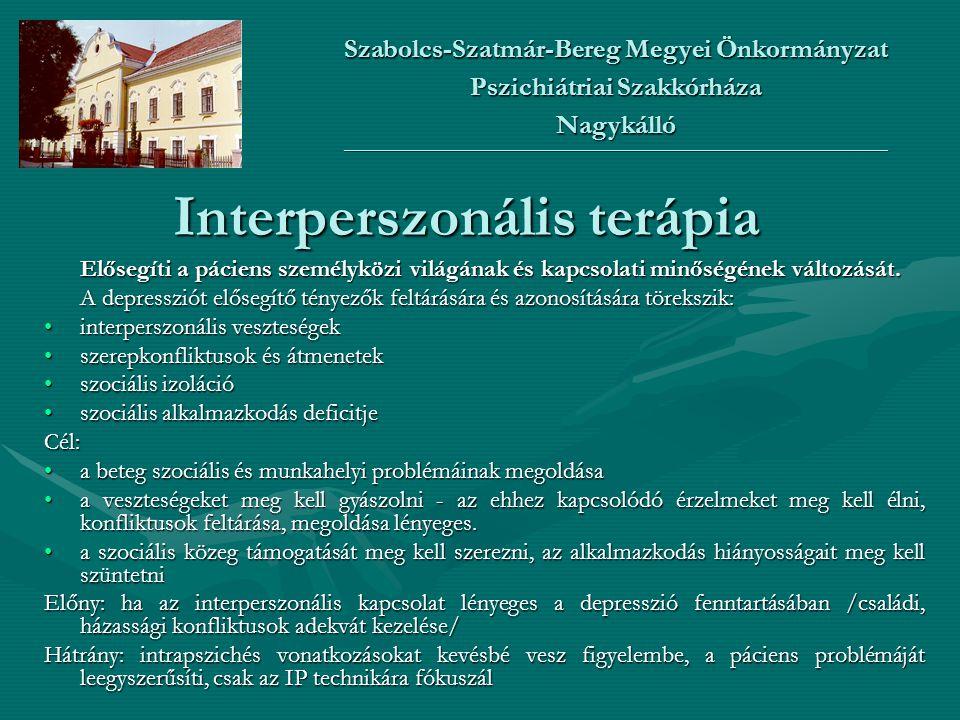 Interperszonális terápia Elősegíti a páciens személyközi világának és kapcsolati minőségének változását. A depressziót elősegítő tényezők feltárására