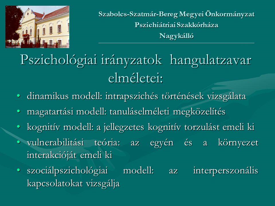 Pszichológiai irányzatok hangulatzavar elméletei: •dinamikus modell: intrapszichés történések vizsgálata •magatartási modell: tanuláselméleti megközel