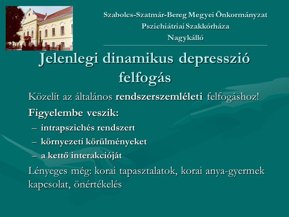 Jelenlegi dinamikus depresszió felfogás Közelít az általános rendszerszemléleti felfogáshoz! Figyelembe veszik: –intrapszichés rendszert –környezeti k