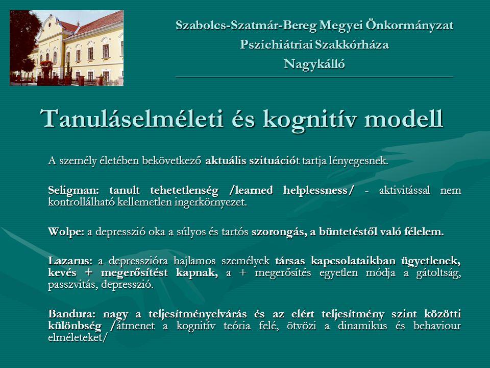 Tanuláselméleti és kognitív modell A személy életében bekövetkező aktuális szituációt tartja lényegesnek. Seligman: tanult tehetetlenség /learned help