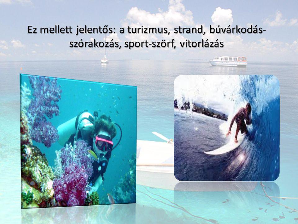 Ez mellett jelentős: a turizmus, strand, búvárkodás- szórakozás, sport-szörf, vitorlázás