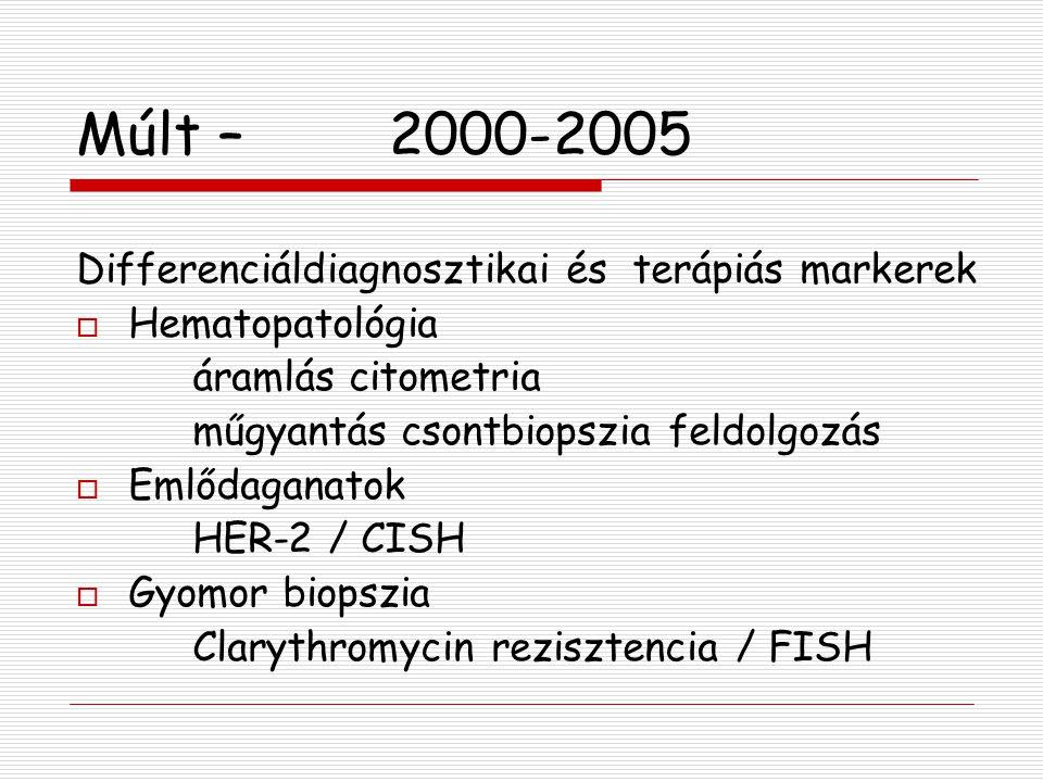 Múlt –2000-2005 Differenciáldiagnosztikai és terápiás markerek  Hematopatológia áramlás citometria műgyantás csontbiopszia feldolgozás  Emlődaganato
