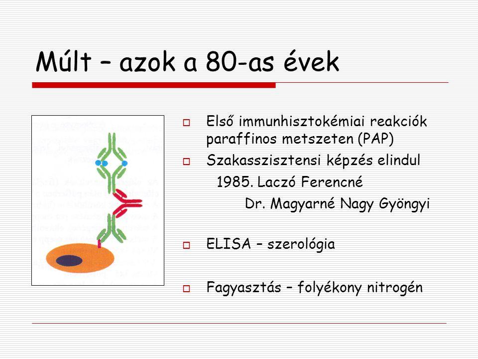 Múlt – azok a 80-as évek  Első immunhisztokémiai reakciók paraffinos metszeten (PAP)  Szakasszisztensi képzés elindul 1985. Laczó Ferencné Dr. Magya