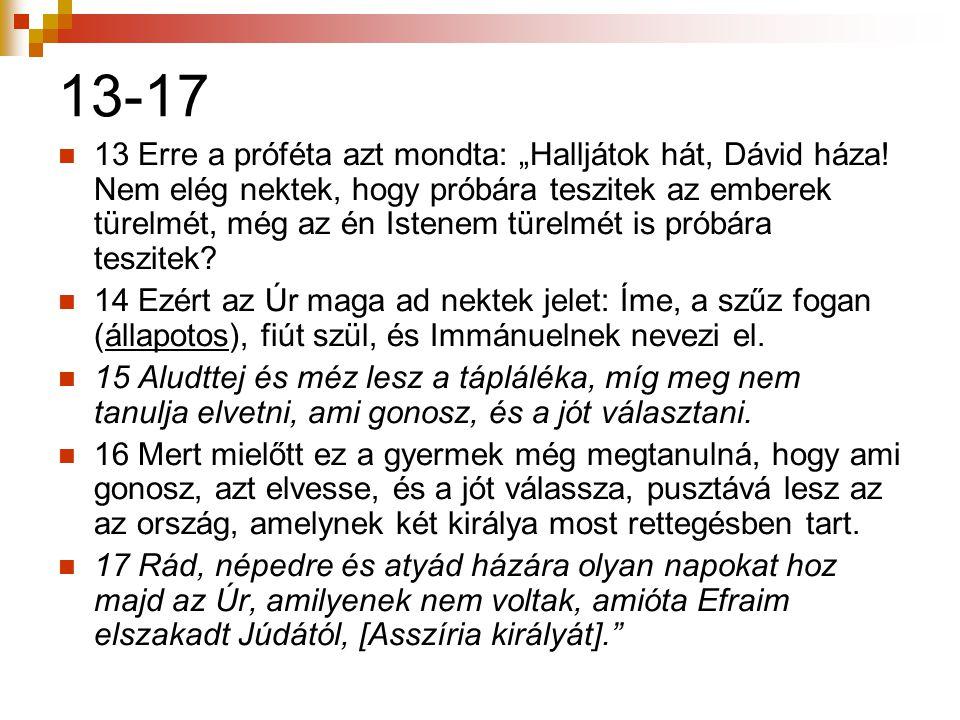"""13-17  13 Erre a próféta azt mondta: """"Halljátok hát, Dávid háza! Nem elég nektek, hogy próbára teszitek az emberek türelmét, még az én Istenem türelm"""