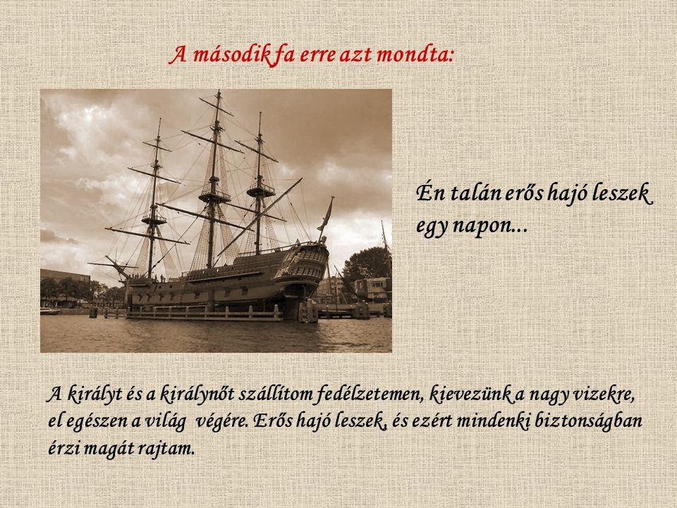 A második fa erre azt mondta: Én talán erős hajó leszek egy napon... A királyt és a királynőt szállítom fedélzetemen, kievezünk a nagy vizekre, el egé